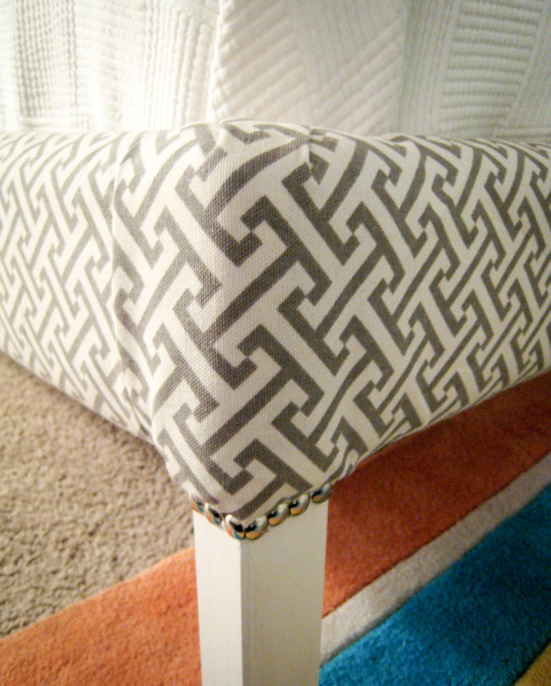 How to Reupholster Bed Frame Ikea Fjellse: Detail of painted legs with trim