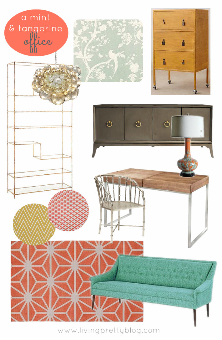Mint and Tangerine Office Mood Board