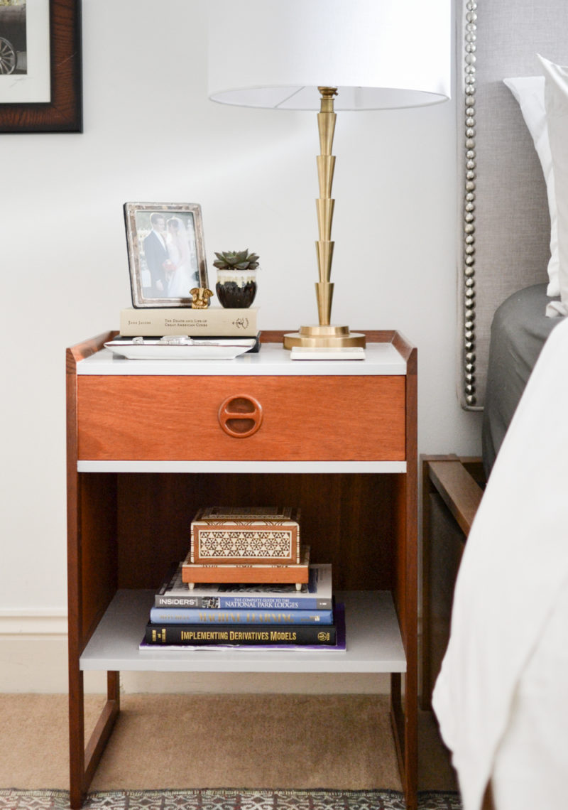 Global Neutral Master Bedroom Reveal - Midcentury Nightstand Makeover