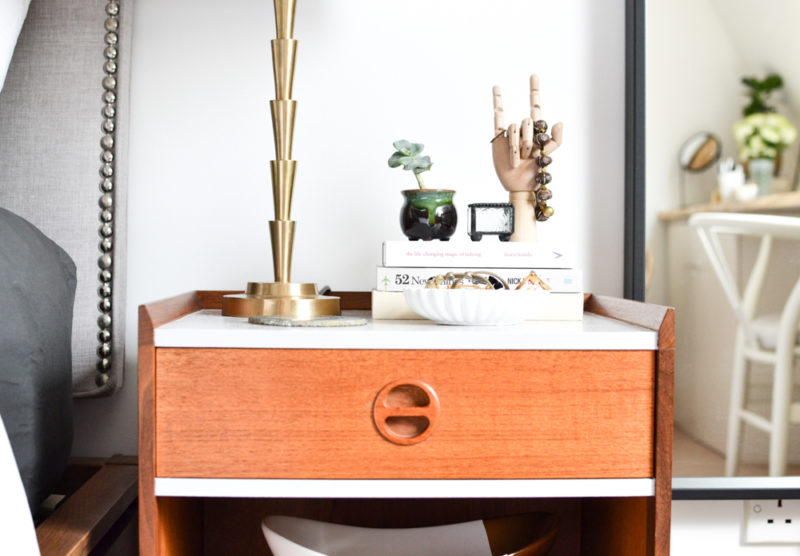 Global Neutral Master Bedroom Reveal - Midcentury Nightstand Two-Tone + Wooden Hand
