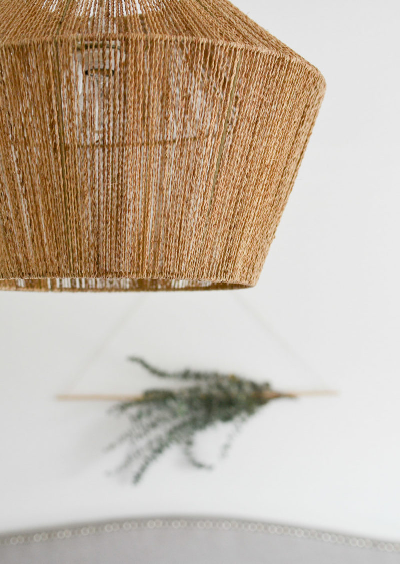 Global Neutral Master Bedroom Reveal - Tana Woven Lampshade with Eucalyptus Wall Hanging