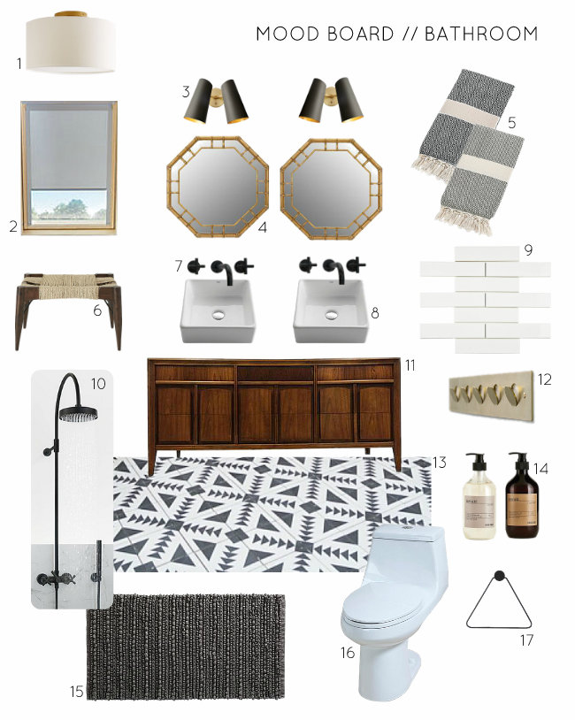 Bathroom Design Board mood board: a black and white bathroom with wood and brass accents