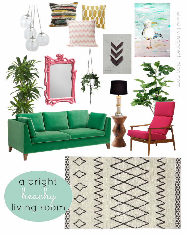 Mood Board - Bright Colorful Beachy Living Room Design Collaboration