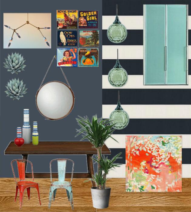 Vintage Modern Dining Room & Hallway Mood Board