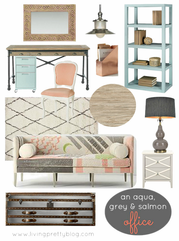 Mood Board - Aqua Grey & Salmon Office Design