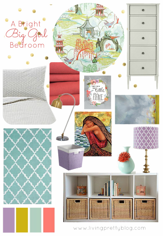 Coral Turquoise Lilac Mustard Big Girl Room