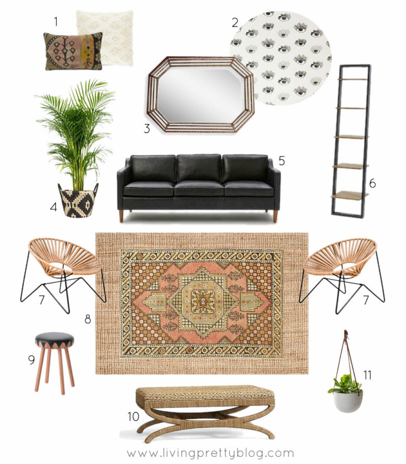 Neutral Masculine Living Room Mood Board