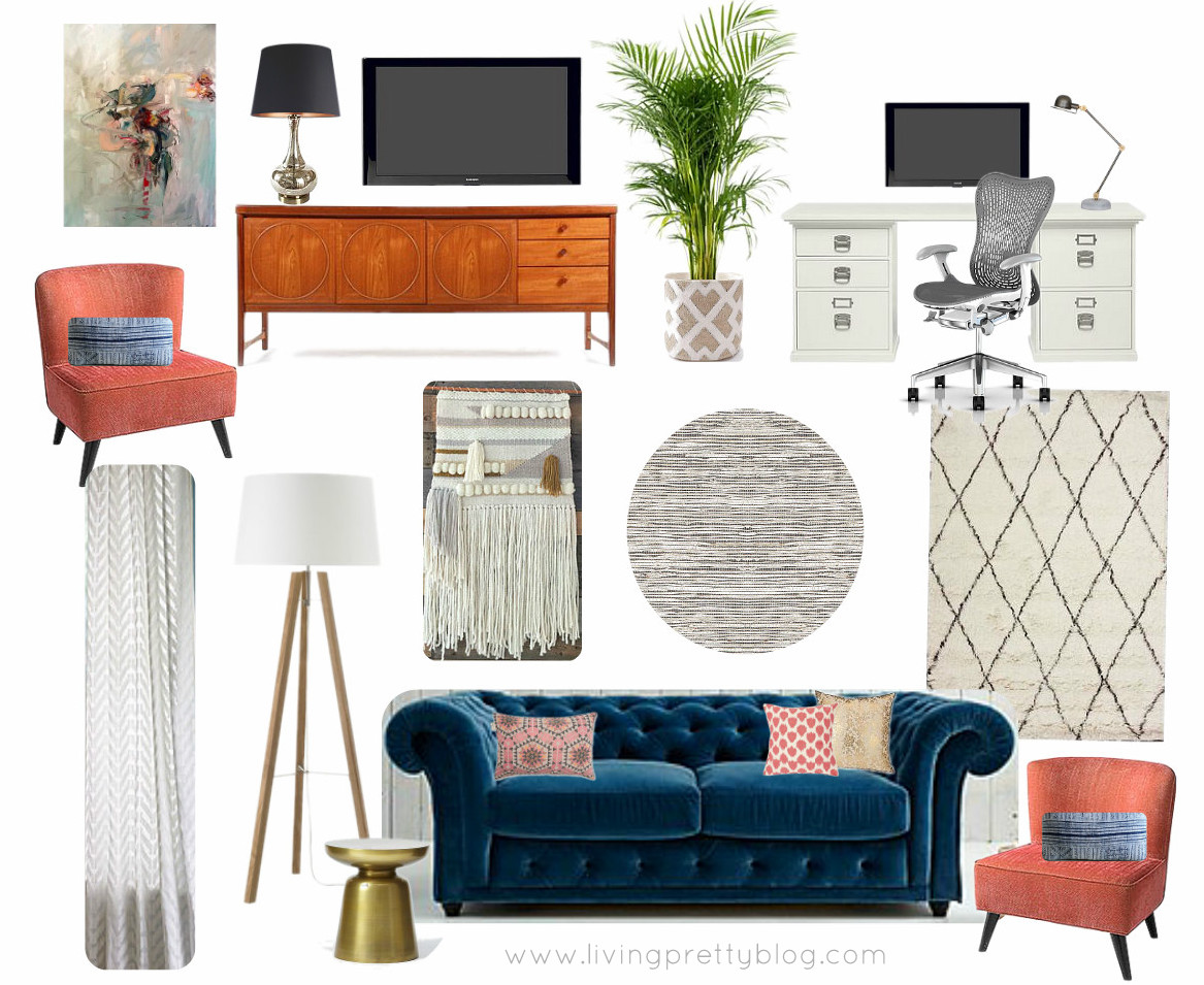 Mood Board Living Room & Study Featuring MidCentury Console, Souk Rug, Chesterfield Sofa & Abstract Oil Painting