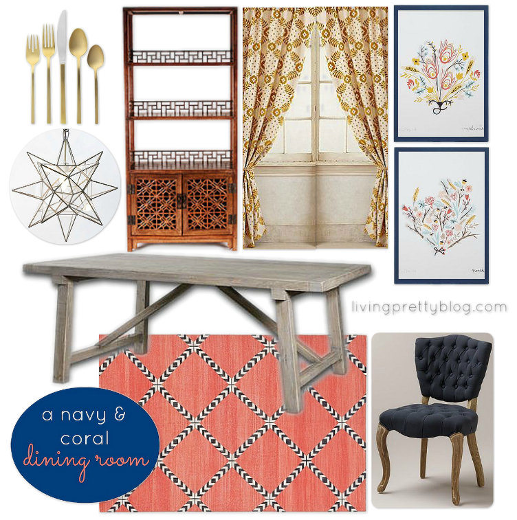 Mood Board - Navy & Coral Dining Room Design