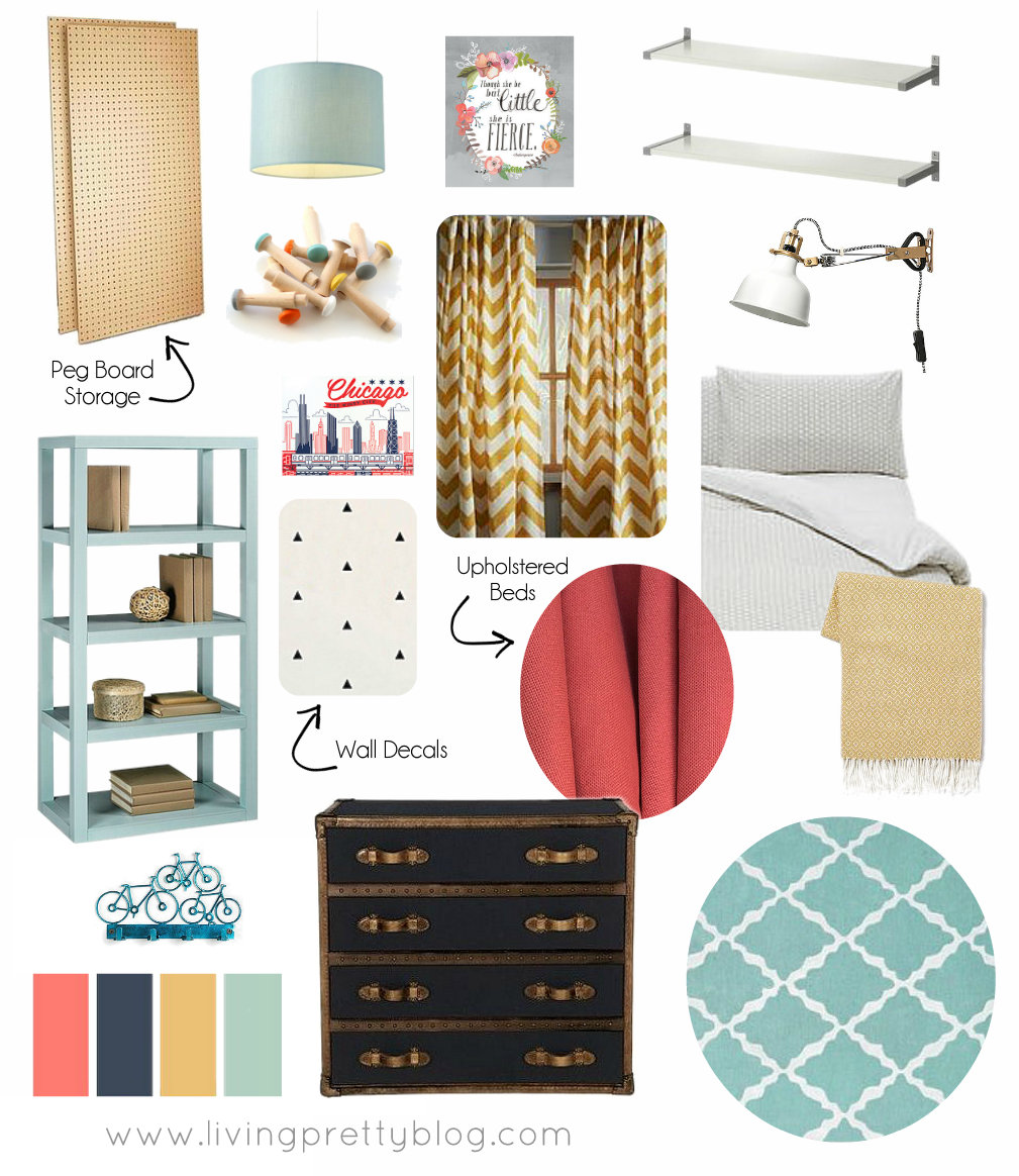 One Room Challenge Mood Board Shared Kids Room Boy Girl Living Pretty Blog