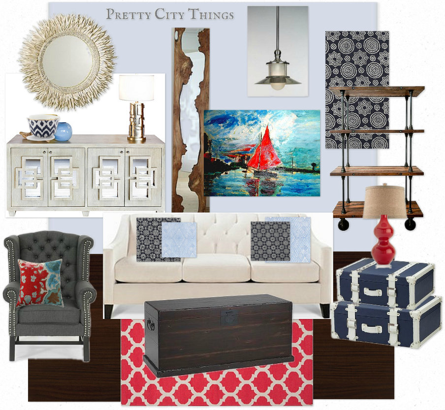 Mood Board - Robshaw Textiles Beachy Living Room Design Board