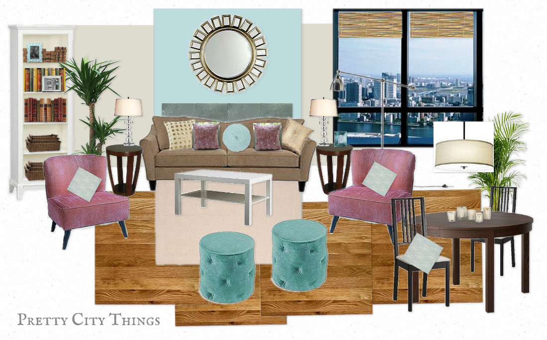 Mood Board - Teal & Pink Loft Living Room Design Plans