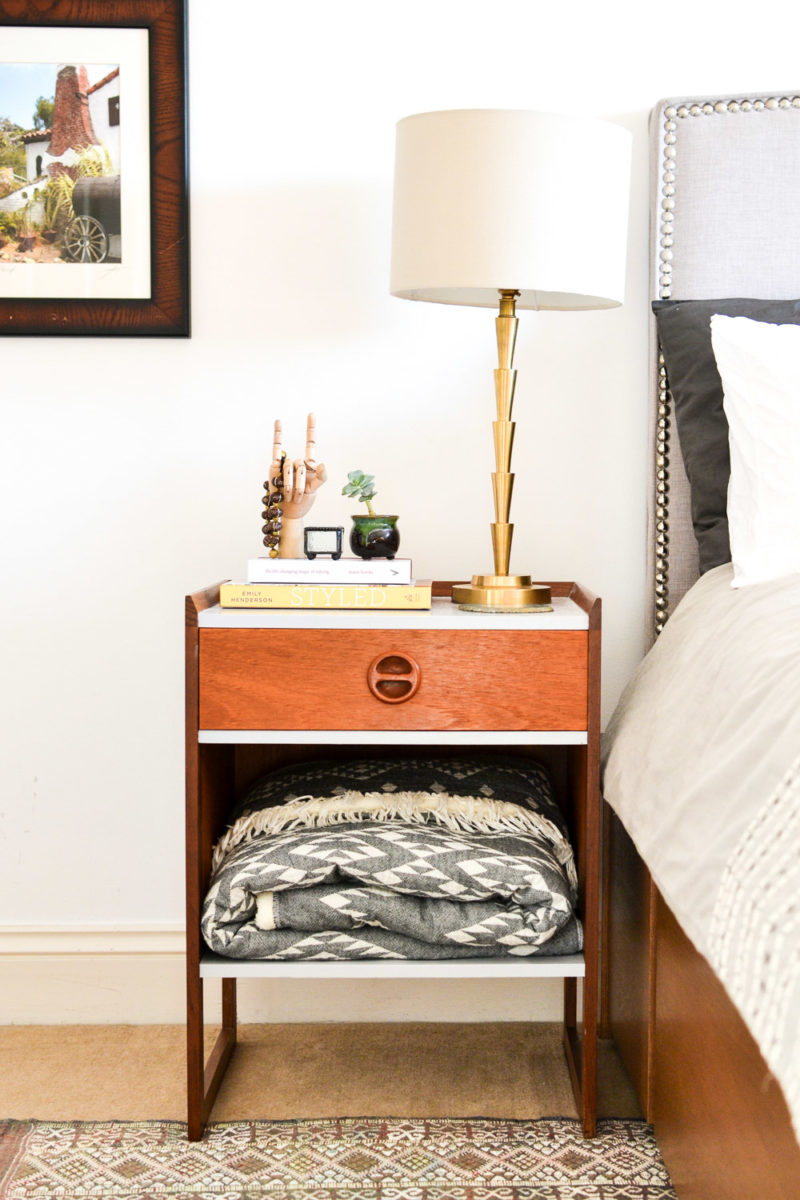 DIY Refinished Mid-Century Night Stands with Blanket