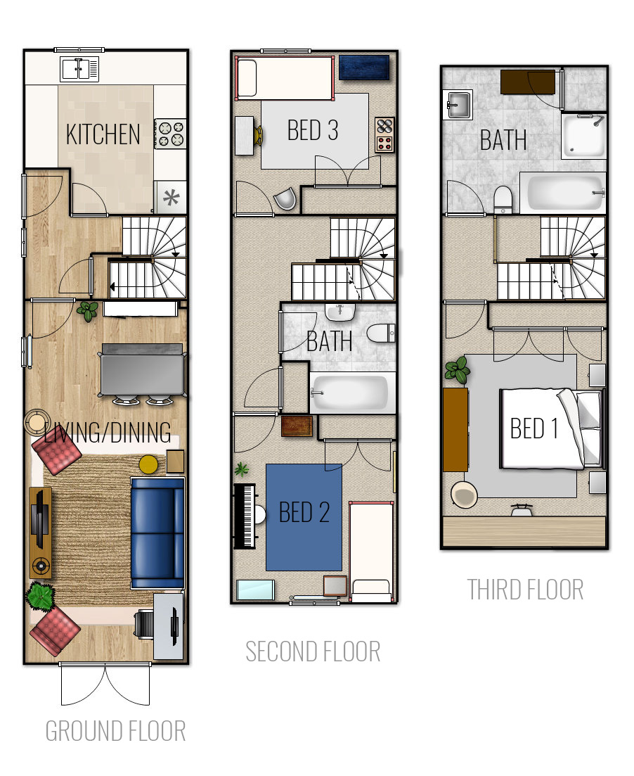 Floor Plan of 3 Bed 2 bath 3 Level Furnished Terraced House