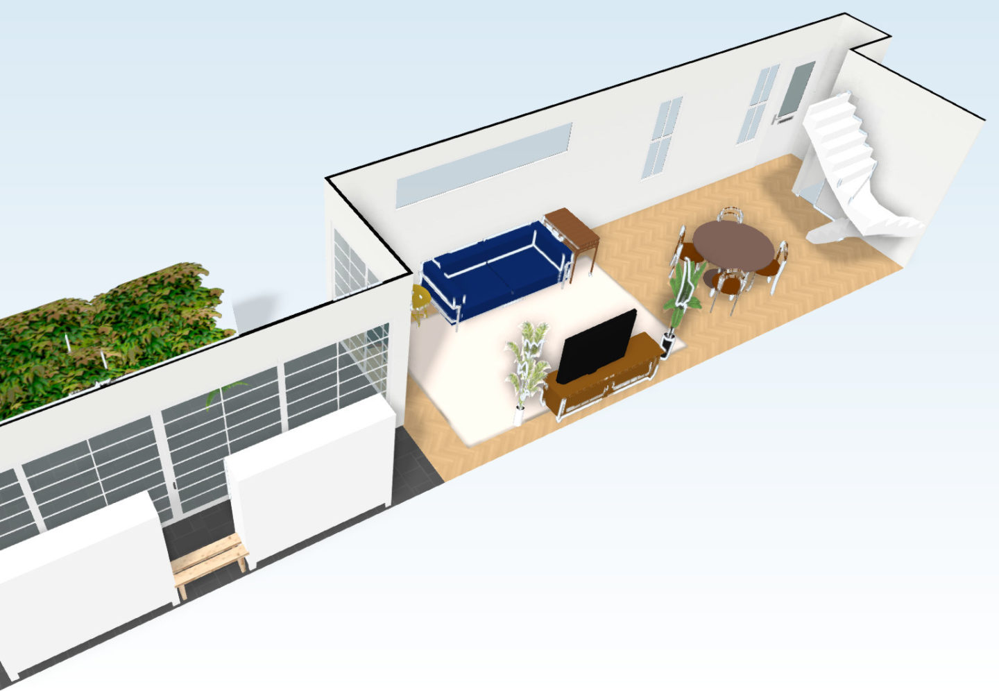 3D Rendering of Potential 1st Floor Extension Showing Living and Dining Area