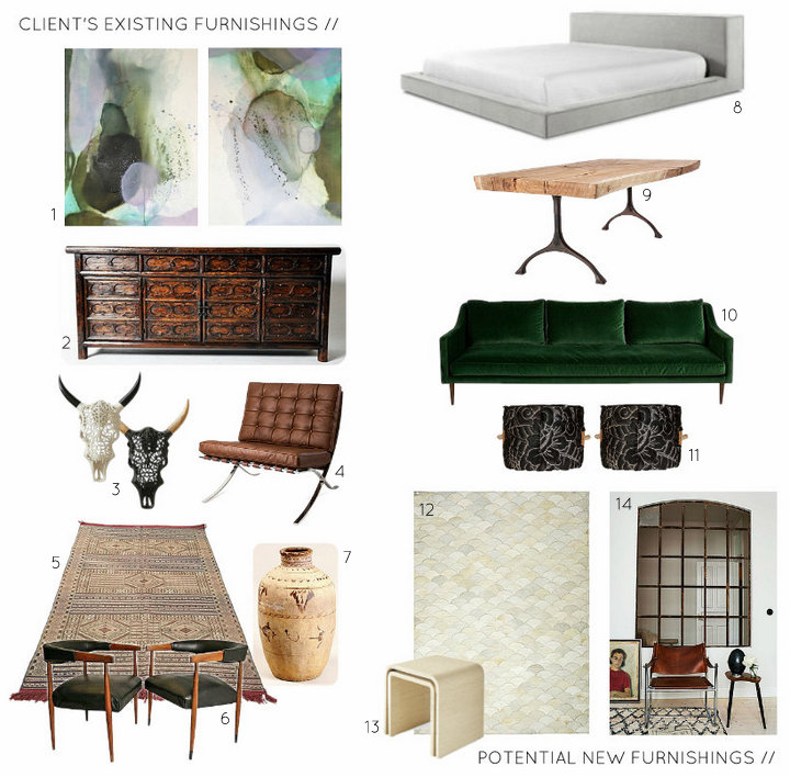 Design Board Mood Board - Furnishing Choices for NYC Apartment