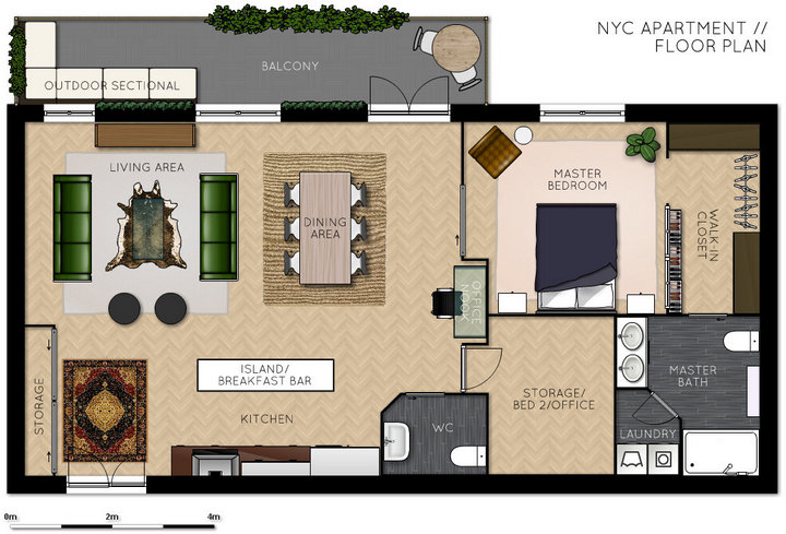 1 bed 2 bath open plan NYC apartment design with bonus room - floor plan