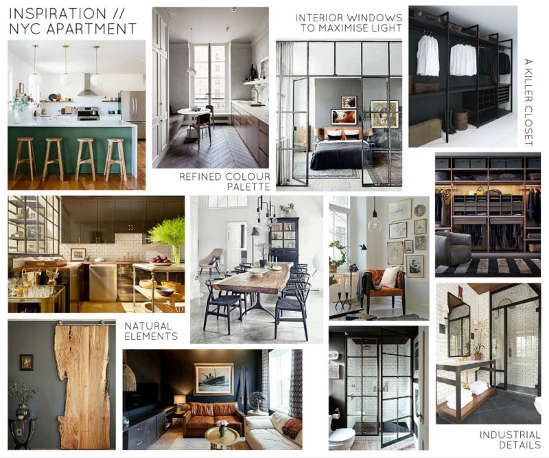 Indsutrial Organic Masculine NYC Apartment Design - Inspiration Board