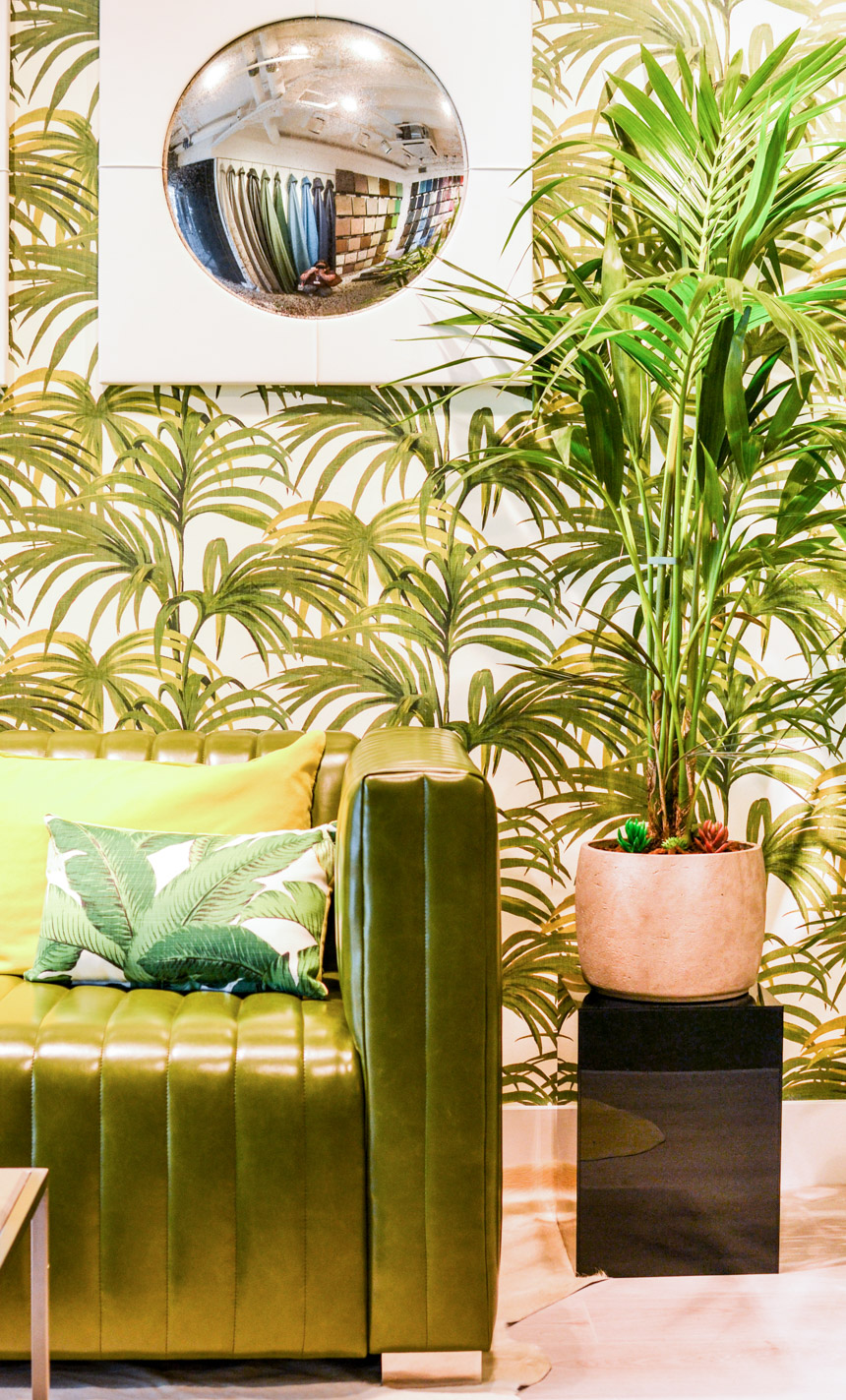 2016-2017 Interior Design Trends Home Decor Trend Report - Greenery & Palm Prints via Whistler Leather