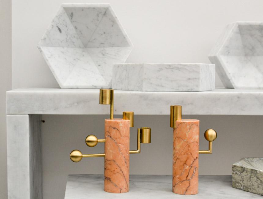 2017 Interior Design Trends Home Decor Trend Report - Brass, Marble & Blush Pink via Lapicida Lara Bohinc Stargazer Candleholders