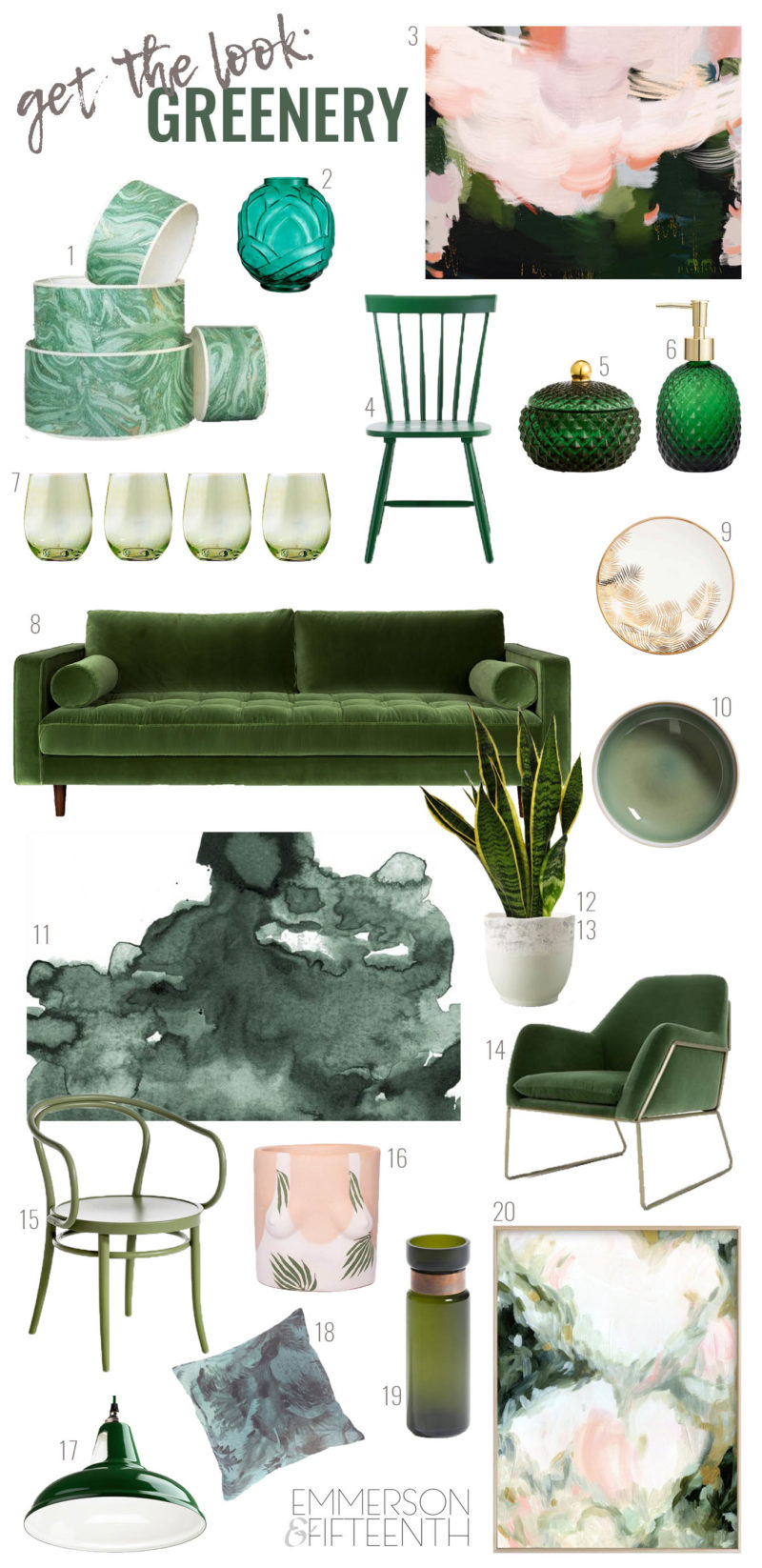 Get the Look - Interior Design Trend Round Up - Greenery aka Botany - Home Decor Product Picks