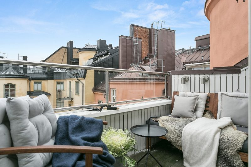 Neutral Scandinavian Apartment Stockholm Balcony