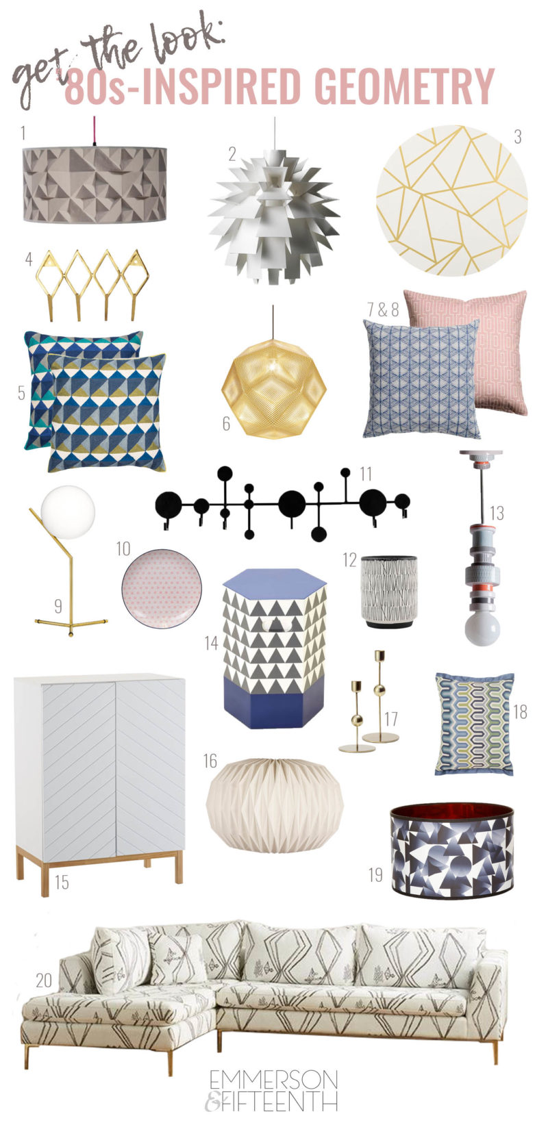 Get the Look: Interior Design Trend Round Up - 80s Geometric Home Decor