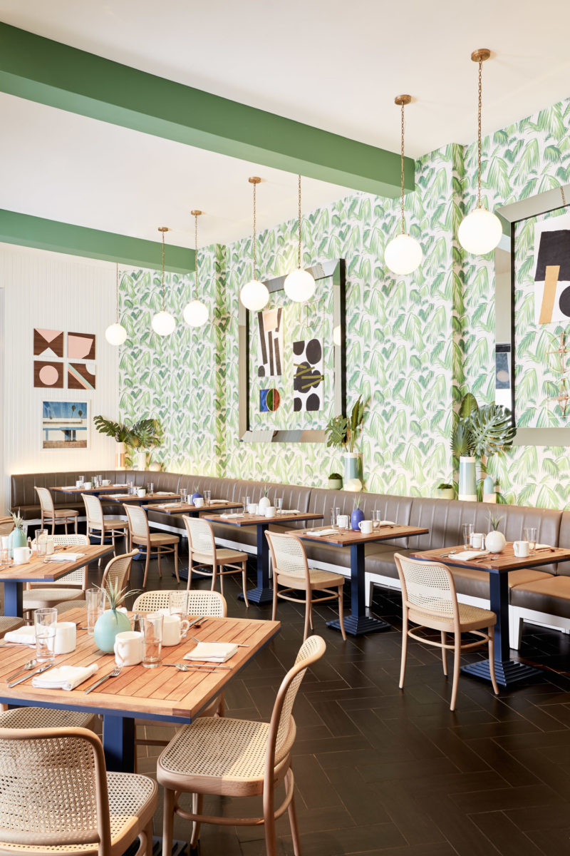 Dining Room at Cafe Palmetto in the Hotel Riviera Palm Springs with Palm Print Wall Paper