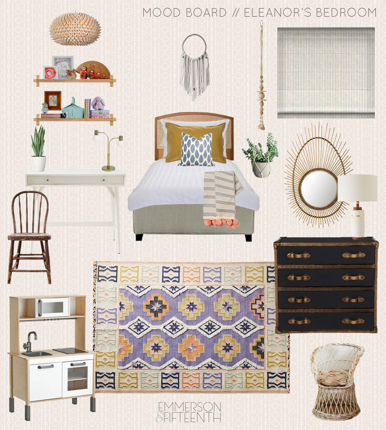 A Global Boho Girls Bedroom | One Room Challenge Week 1