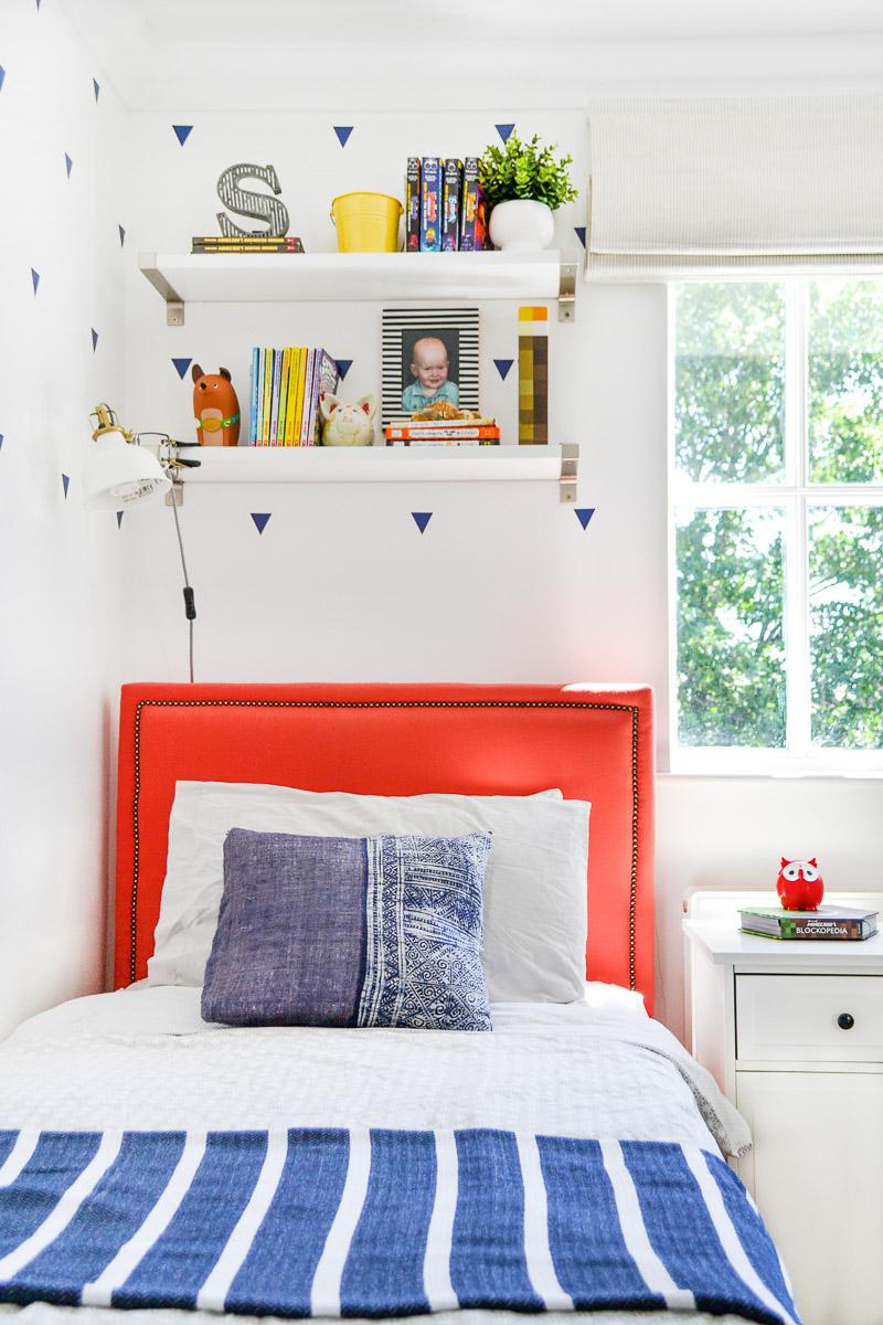 DIY upholstered bed in boys room