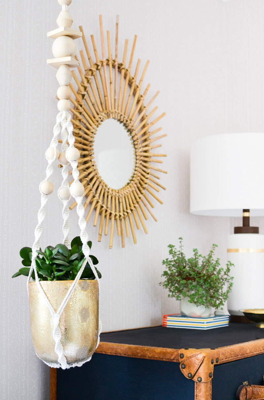 Global boho kids bedroom makeover -Ikea macrame plant hanger