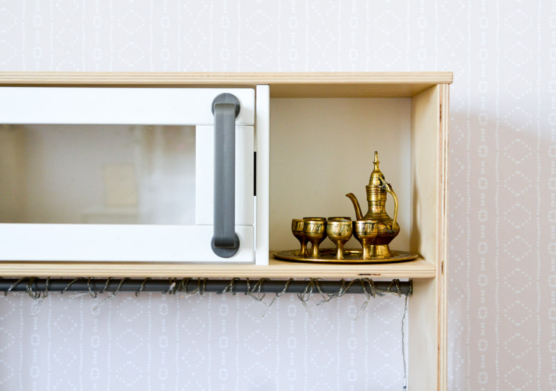 Global boho kids bedroom makeover - Ikea play kitchen + Moroccan tea set