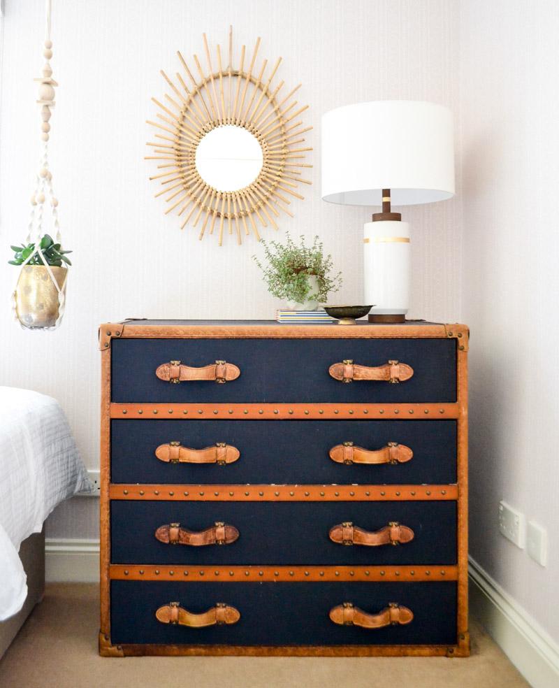 Global boho kids bedroom makeover - industrial leather chest