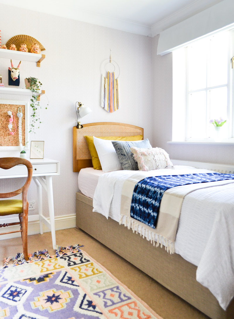 Global boho kids bedroom makeover - ottoman storage bed