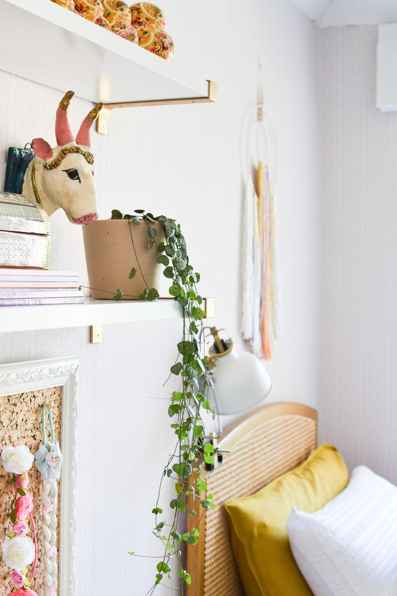Global boho kids bedroom makeover - string of hearts