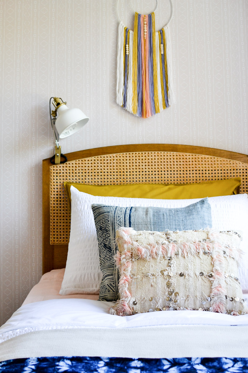Global boho kids bedroom makeover - wicker headboard + shibori