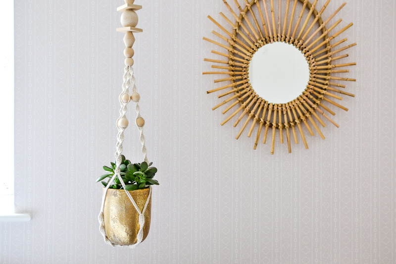 Hanging Planter and Bamboo Mirror on Holli Zollinger Bebe Mudcloth White - Spoonflower Peel & Stick Removable Wallpaper