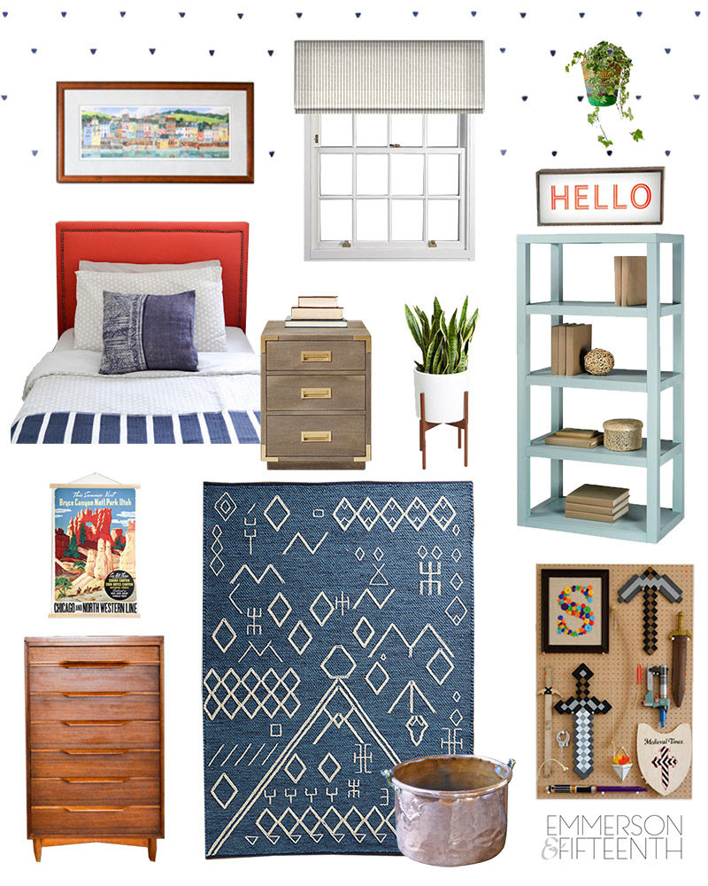 Mood Board - A Colorful Midcentury Global Boys Room