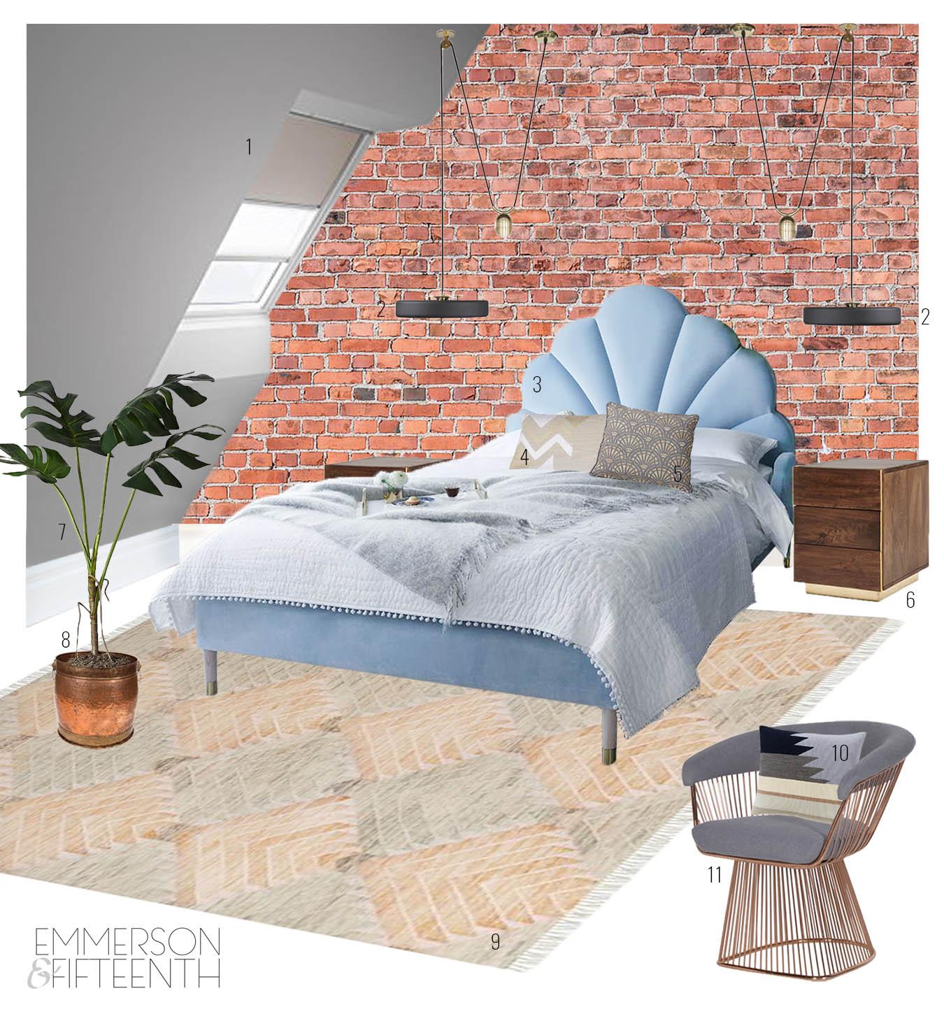 Design Board: An Industrial, Art Deco-Inspired Bedroom